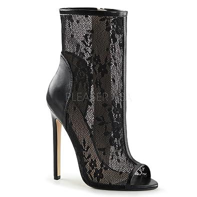 """5"""" Heel Open Toe Ankle Bootie Side Zip Mens Boots"""