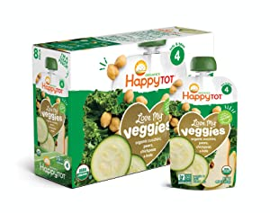Happy Tot Organic Stage 4 Baby Food Love My Veggies Zucchini/Pear/Chickpeas & Kale, 4.22 Ounce (Pack of 16) (Packaging May Vary)