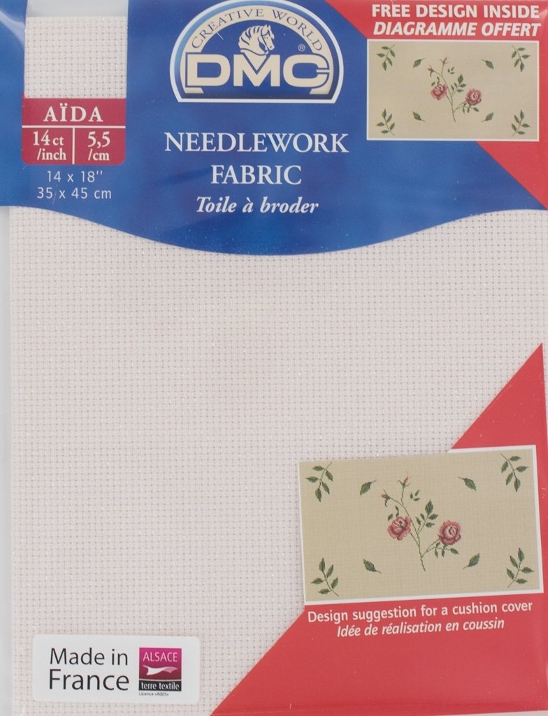 DC27IRI//818 DMC 14 Count Iridescent Pink Aida Fabric 14x18 Inches 35x45cm