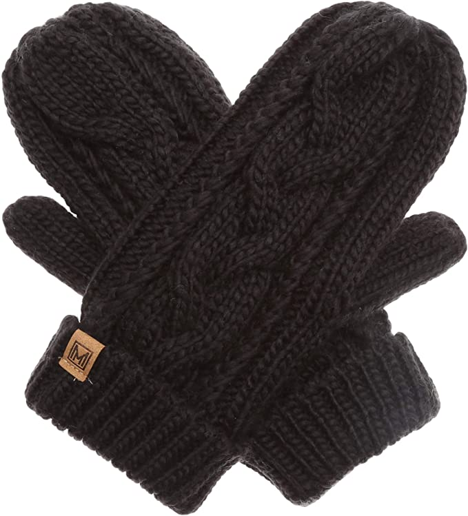 Women/'s Winter Mittens Knit Cable Lined Mittens Black Winter White Mittens