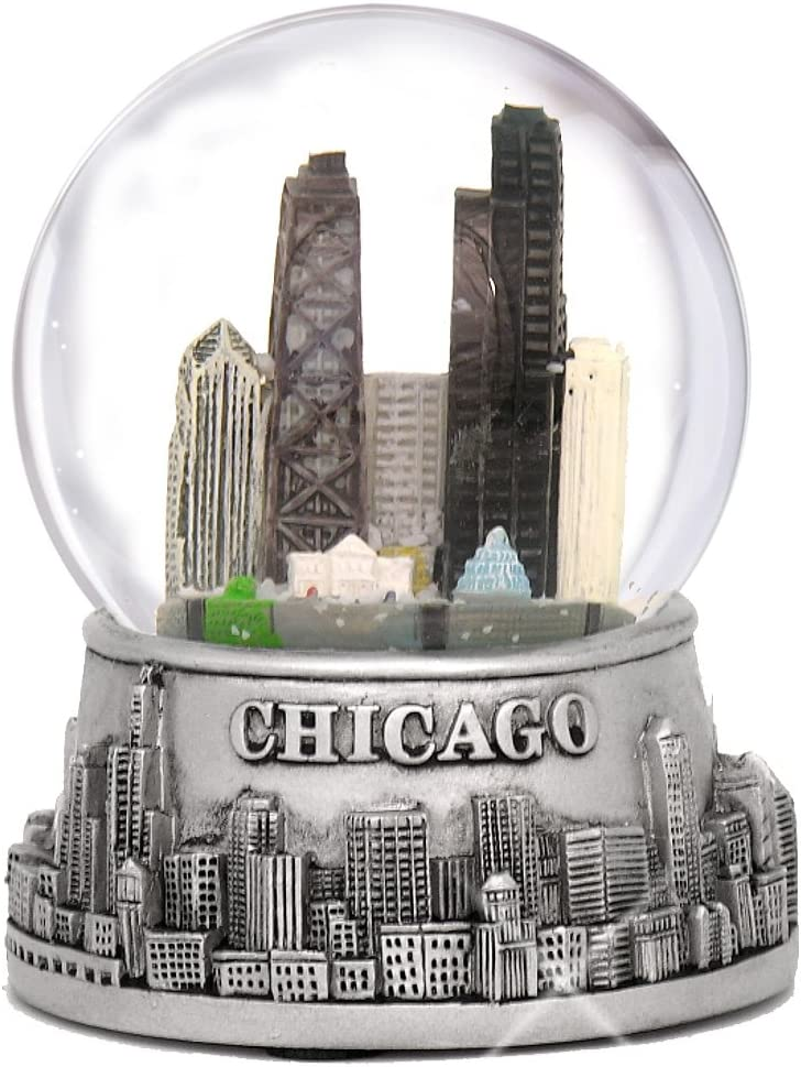 City-Souvenirs 3.5 Inch Chicago Snow Globe, Silver Base and Color Inside Glass Globe, Chicago Snow Globes with Skyline and Landmarks