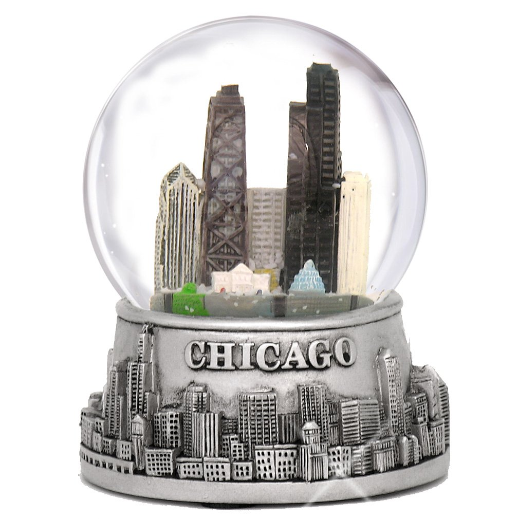 City-Souvenirs 3.5 Inch Chicago Snow Globe, Silver Base and Color Inside Glass Globe, Chicago Snow Globes with Skyline and Landmarks 6331-CHG