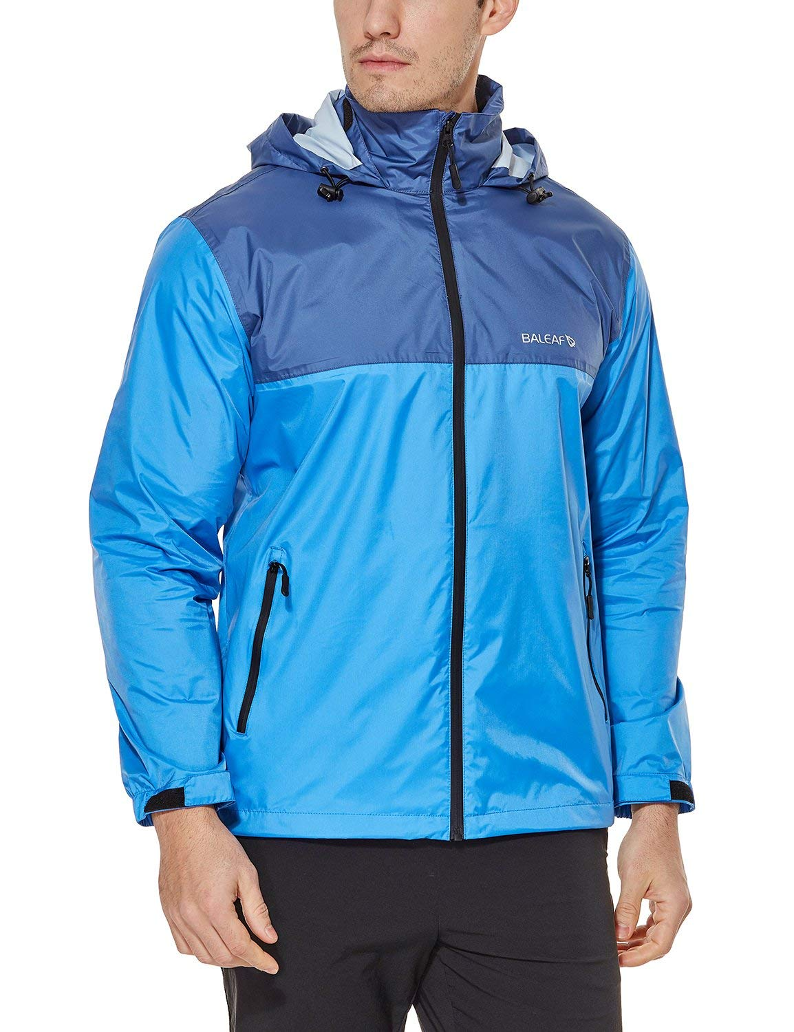 Baleaf Men's Rain Jacket Waterproof Front-Zip Raincoats Hideaway Hood Blue/Navy M by Baleaf
