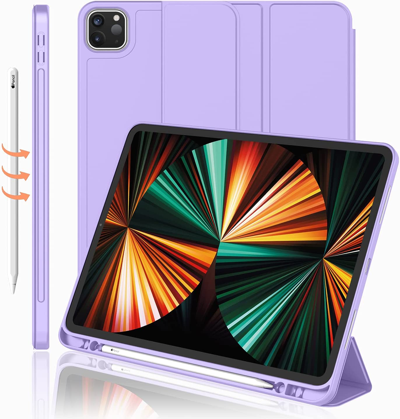 iMieet New iPad Pro 12.9 Case 2021(5th Gen) with Pencil Holder [Support iPad 2nd Pencil Charging/Pair],Trifold Stand Smart Case with Soft TPU Back,Auto Wake/Sleep(Clove Purple)