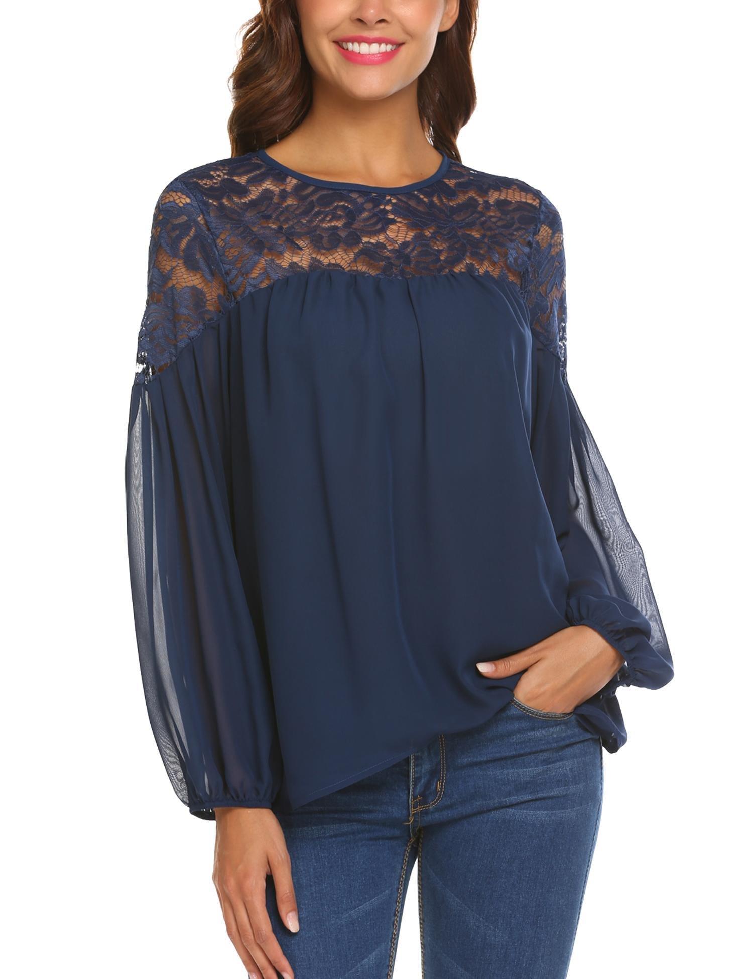 ELESOL Women's Sexy Long Sleeve Shirt Lace Sheer Tops Navy Blue X-Large