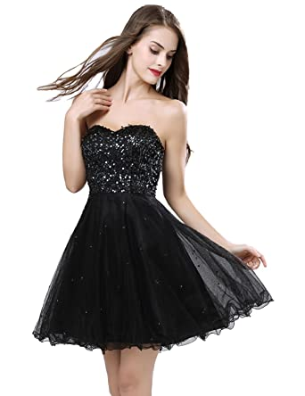 f76ac32619ad Sarahbridal Women's Sweetheart A Line Sexy Homecoming Dress Mini Tulle  Sequin Cocktail Party Gowns Black US2