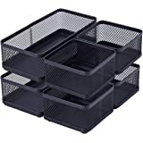 BOLDSTUFF Stackable Desk Drawer Organizer, Mesh Metal Desktop Collection Holder for Sticky Notes & Business Cards Pen, Home & School & Office Supplies Desk Organizers, 6-Piece Set, Black
