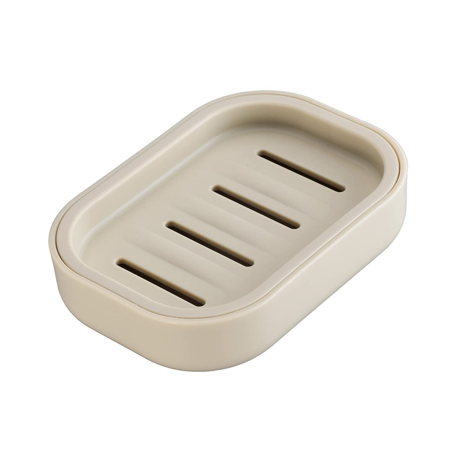 UVIVIU PP Plastic Box Dish, Container, Keeps Soap Dry,Easy Cleaning,Drain,White a-1137