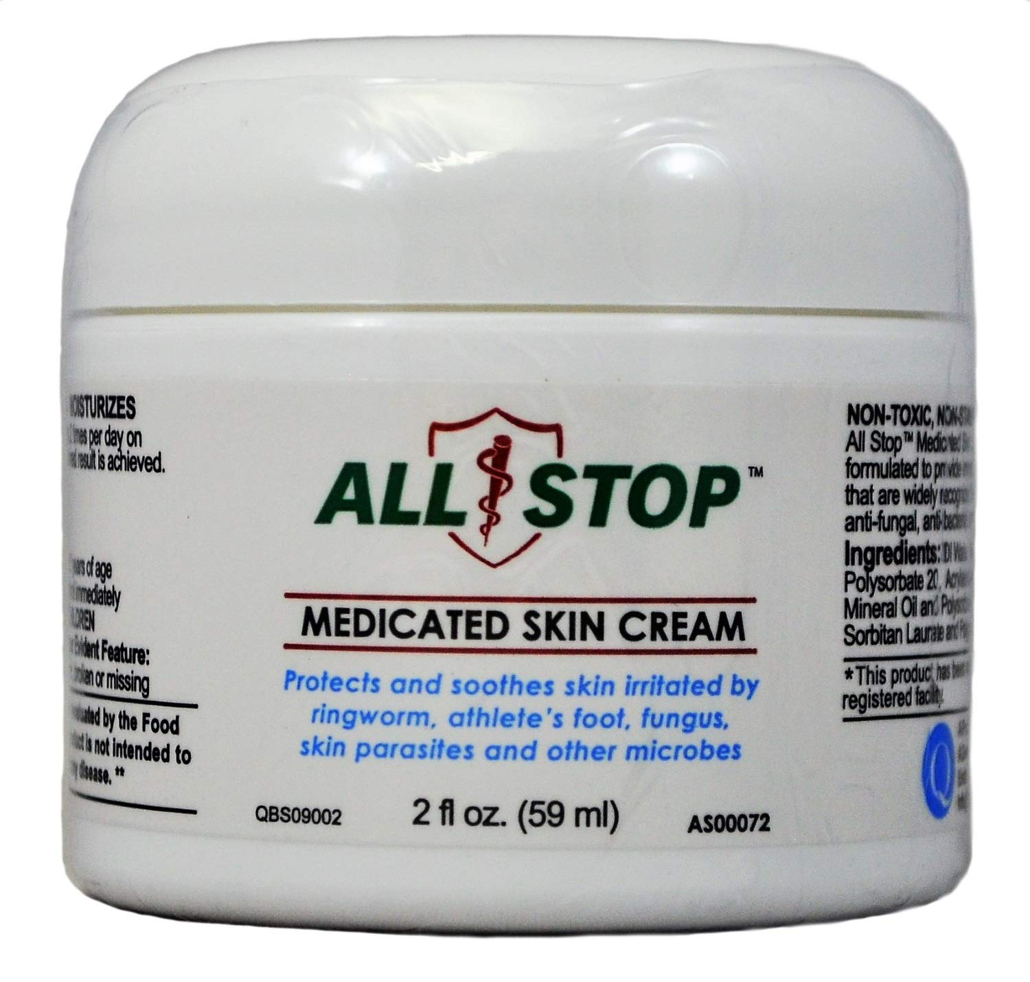 Medicated Skin Cream Antifungal Cream for Jock Itch, Ringworm, Athlete's Foot, Wounds, Skin Rashes - 2 oz by All Stop