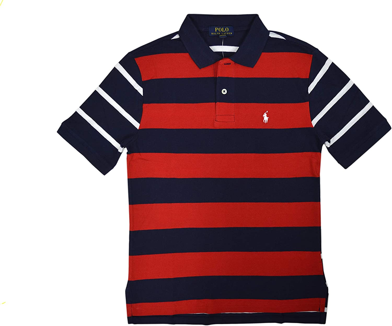 B084JLW8GG Ralph Lauren Polo Boys Kids Big Pony Polo Golf Shirt Red Blue Striped 71XhHWpaujL