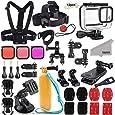 Kupton Tillbehörssats för GoPro Hero 8 svart tillbehörsset, vattentätt hölje + filter + huvud bröstrem + sugkoppsfäste + cykelfäste + flytande grepp