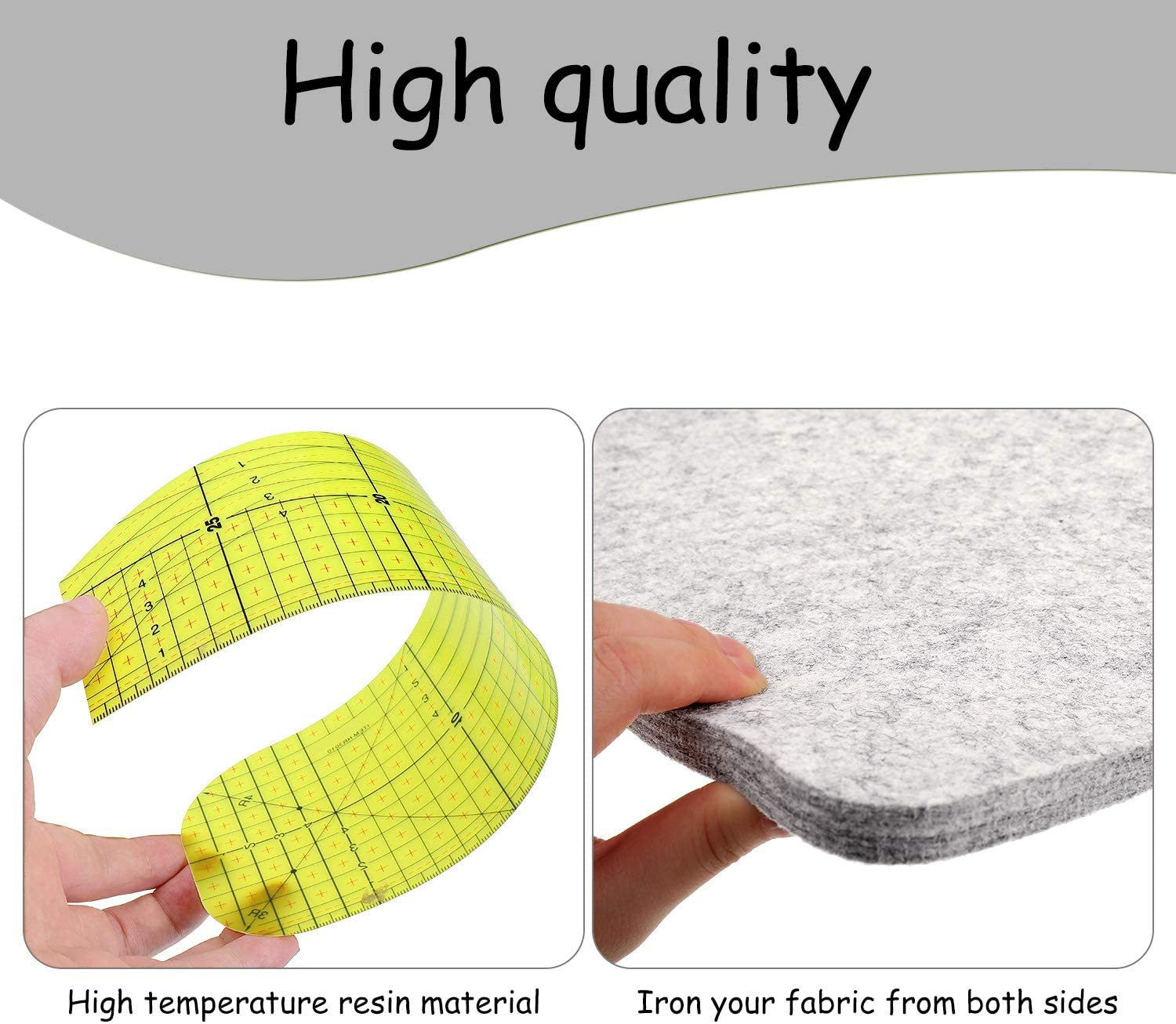 2 Pieces Hot Ruler Hot Hemmer Ruler with Wool Pressing Mat 12 x 12 Inch Heat Resistant Ruler Sewing Tools for Electric Iron Home lroning Work 2 Different Styles