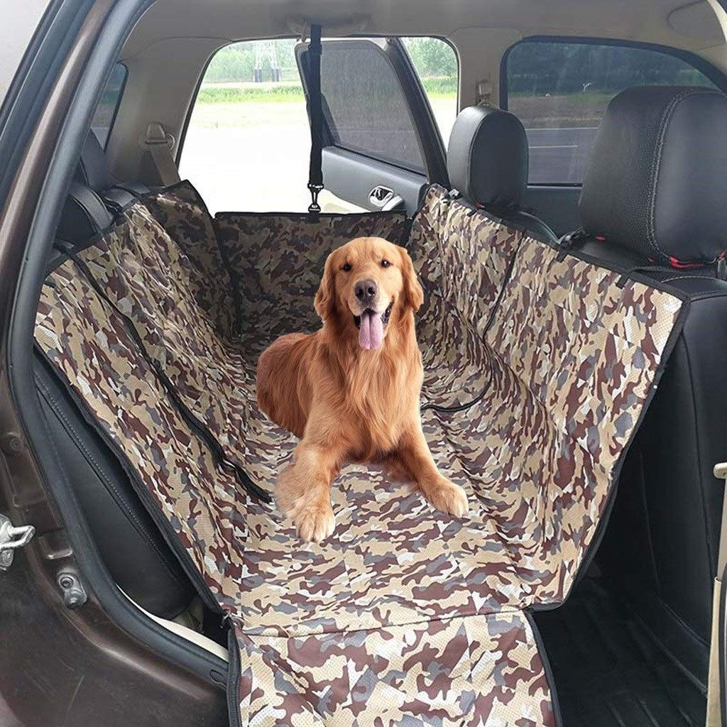 Camouflage HOSHT Dog Car Seat Covers Hammock Tan, Large Size Universal Pet Car Seat Cover Duty Scratch Proof Nonslip Durable Soft Predection Against Dirt and Pet Fur (color   Brown)