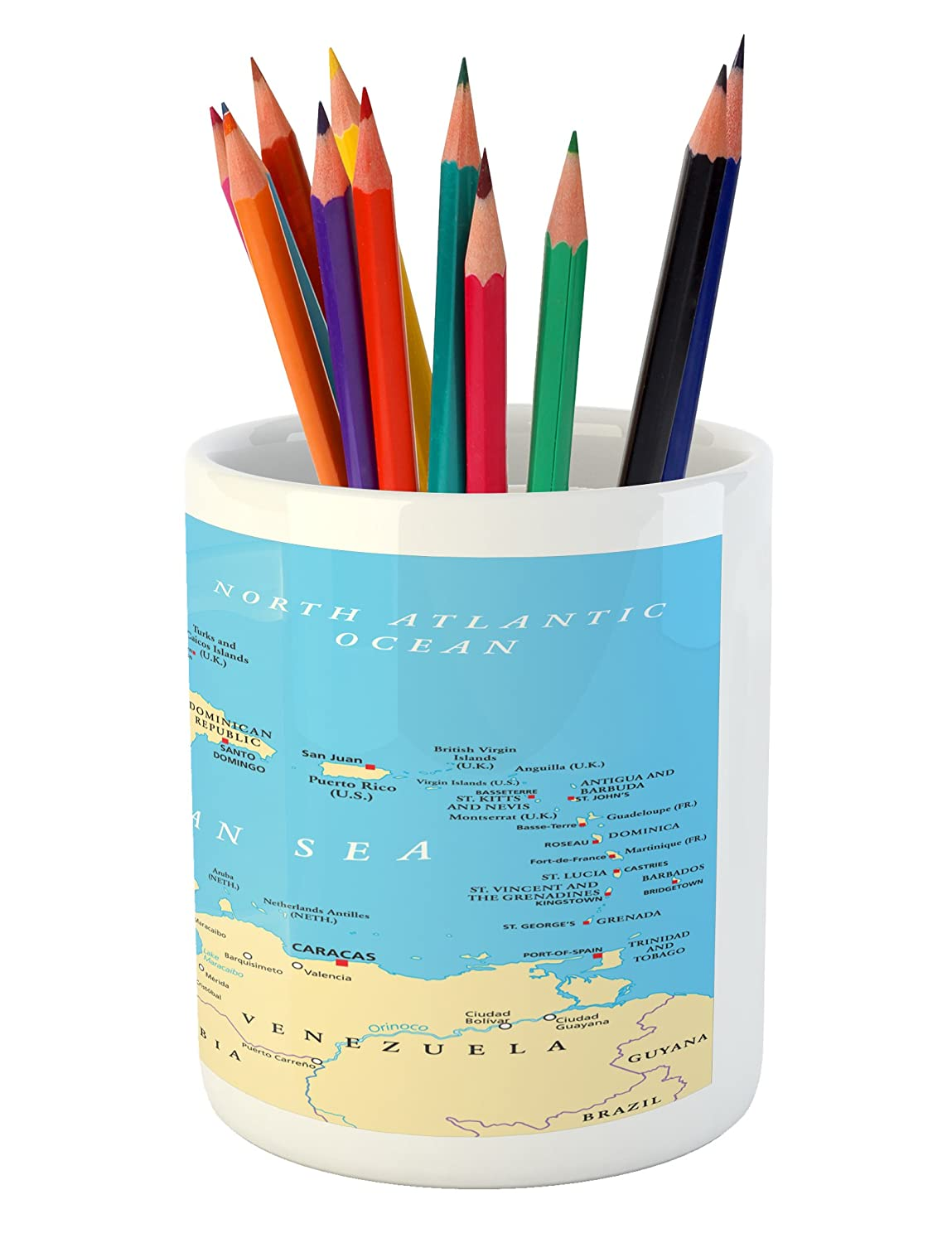 Amazon.com: Ambesonne Wanderlust Pencil Pen Holder, Caribbean Political Map Capitals National Borders Important Cities Rivers Lakes, Printed Ceramic Pencil ...
