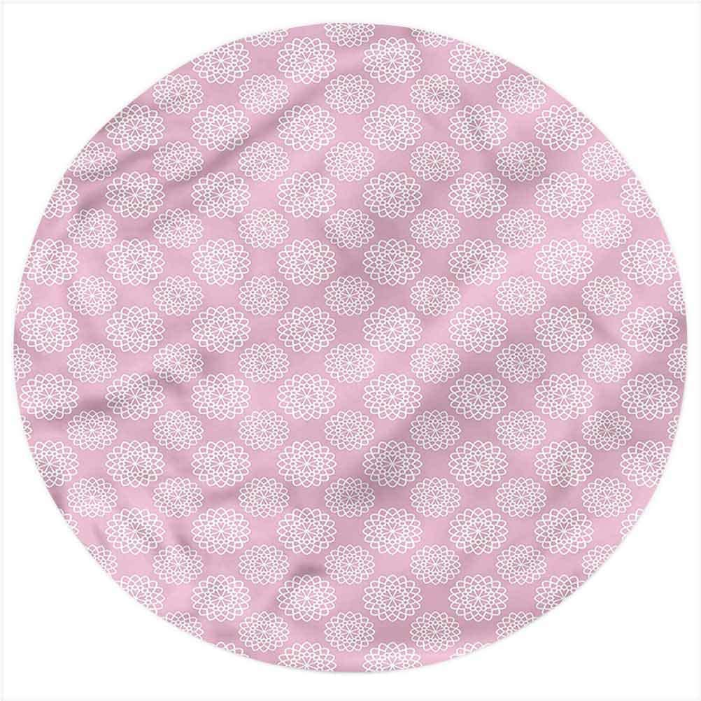 LCGGDB Kids Flannel Throw Blanket,Ornamental Flower Motifs Printed Soft Receiving Blanket Baby Shower Swaddle Blanket for Crib or Stroller, Round 31.5 Inches