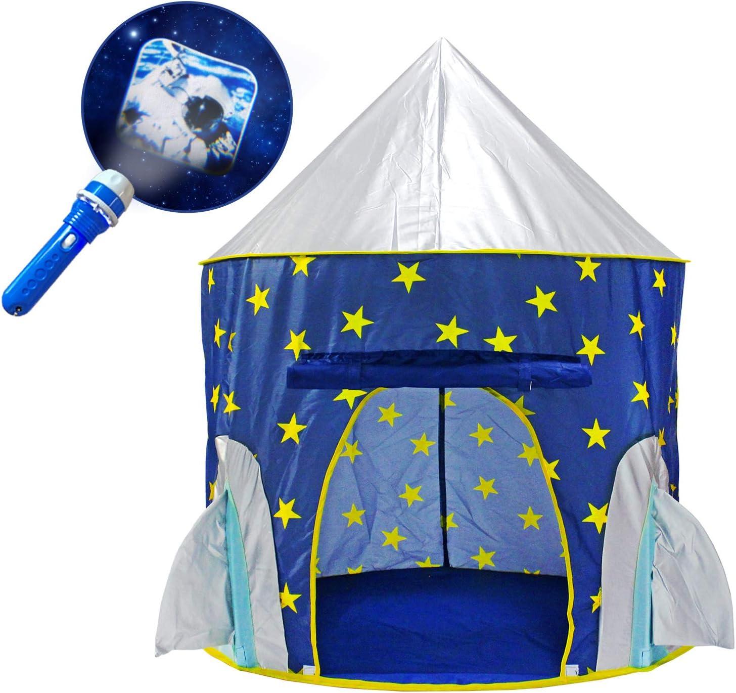 YOOBE Tienda Rocket Ship Play - con BOUNS Space Torch Projector Interior / Exterior Children Playhouse