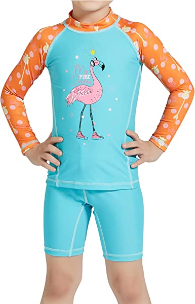 Little Girls Kids 2 Pieces Long-Sleeve Flamingo Swimwear Rash Guard UPF 50 UV Swimsuits Beachwear Bathing Suits