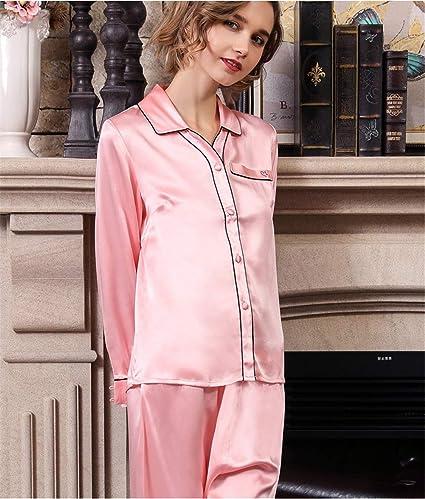 100% Seda Pijama Largo de Mujer, Mujer Pijama de 2 Piezas, de ...