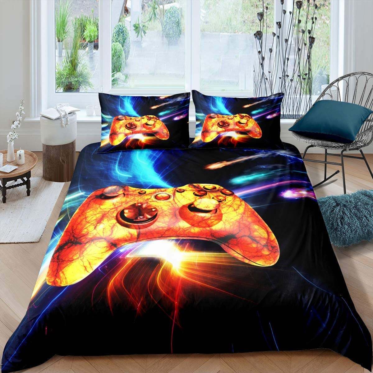 Gamepad Bedding Set Video Game Controller Comforter Cover for Kids Boys Girls Teens 3D Marble Gamepad Duvet Cover Modern Gamer Colorful Meteor Bedspread Cover Room Decor Quilt Cover Twin Size