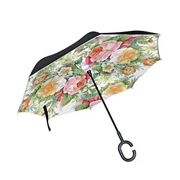 jstel doble capa puede acuarela flores paraguas coches ...