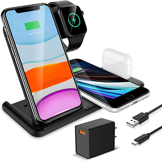 Kkm Wireless Charger 4 In 1 Wireless Charging Station 15w Qi Certified Fast Charging Stand Compatible With Iphone 12 12 Pro 12 Pro Max 11 11 Pro Max X Apple Watch Series 6 5 4 3 2 1 Airpods Pro Amazon Co Uk Electronics