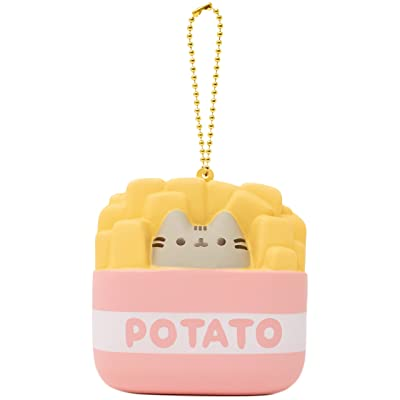 Slow Rising [Squishy Collection] Pusheen Short Hair Cat [French Fries] Square Series Ball Chain Adorable Soft Stress Relief Toy for Kids and Adults, Yellow with Pink & White: Toys & Games