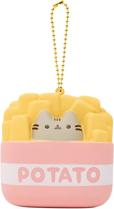 Hamee Pusheen Tabby Cat Junk Food Slow Rising Squishy Toy [Square Series] (French Fries) [Christmas Tree Ornaments, Gift Box, Party Favors, Gift Basket Filler, Stress Relief Toys]