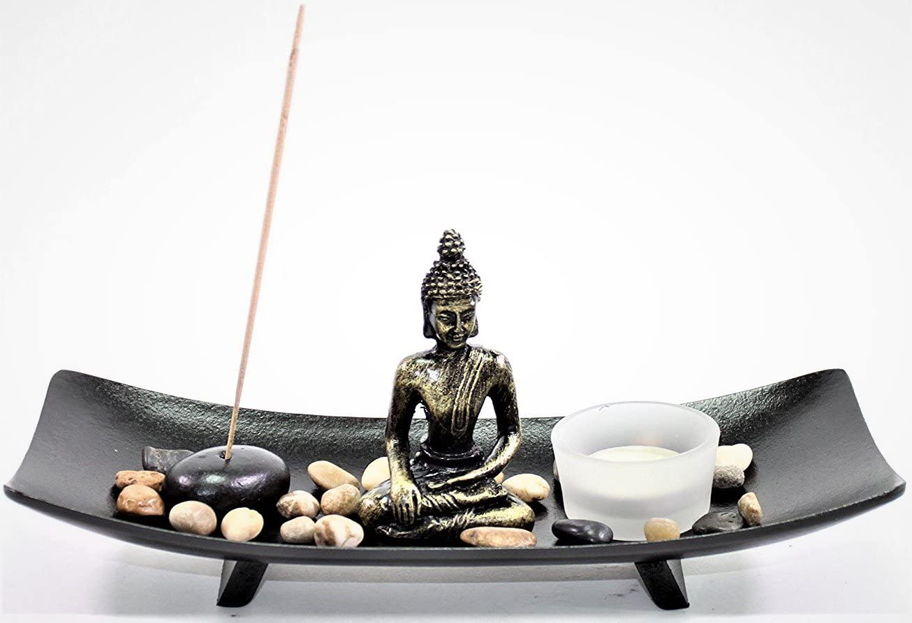 Tabletop Thai Buddha Zen Garden Rock Candle Holder Home Decor Relaxing Tranquility Gift