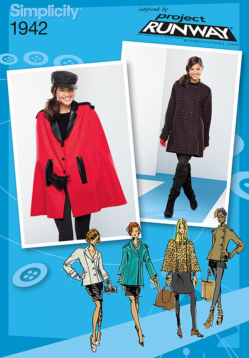 Simplicity Project Runway Collection Sewing Pattern 1942 Misses Coat Jacket and Cape, Size P5 (12-14-16-18-20) by Simplicity Creative Group Inc - Patterns B005X18RI8