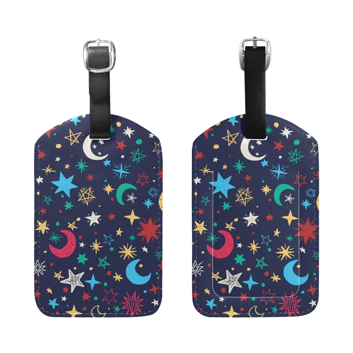 Saobao Travel Luggage Tag Moons And Stars PU Leather Baggage Travel ID