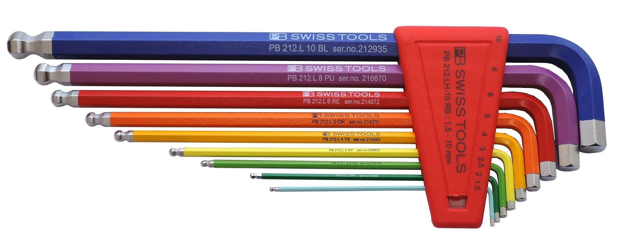 PB Swiss Tools PB 212LH-10 RB Ballend hex set long rainbow by PB Swiss