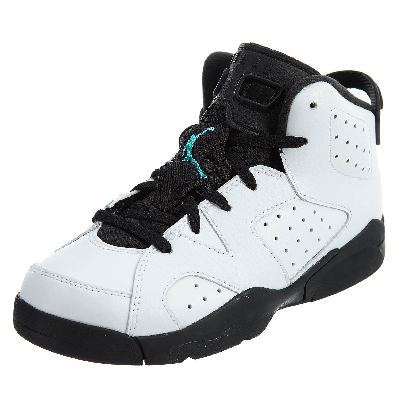 Jordan 6 RETRO BP boys fashion-sneakers 384666 B007VOR0BA 2.5 Y US|White/White-hyper Jade-black
