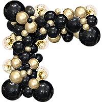 Black and Gold Balloon Garland Kit, 114Pcs Black and Gold Balloons Party Decorations 4 Size Black Gold Latex Party…