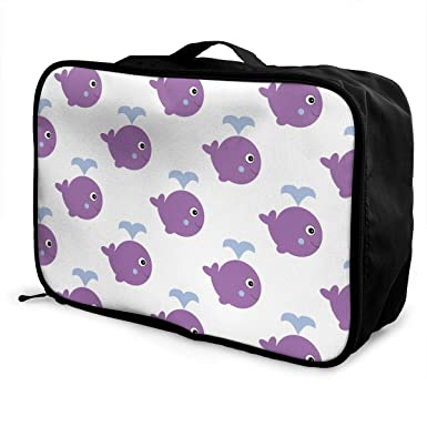 59a44aa250d3 Amazon.com: Whale With Water Pattern Luggage Bag Capacity Portable ...