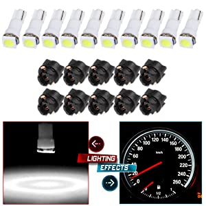 cciyu 10pcs T5 74 85 58 37 27 17 White 1-5050-SMD LED w/Black Twist Sockets Instrument Panel Dash Light Bulbs