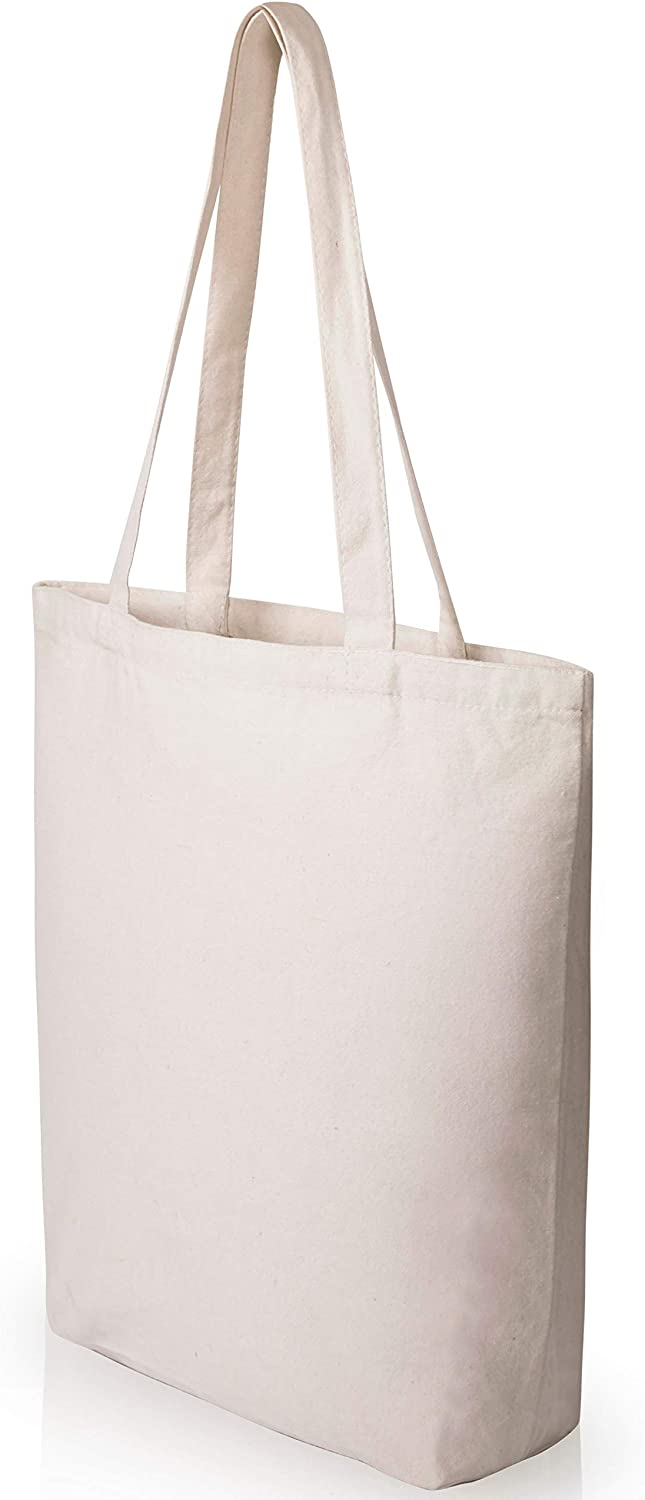 Heavy Duty and Strong Large Natural Canvas Tote Bags with Bottom Gusset (25 Pack + other sizes) for Crafts, Shopping, Groceries, Books, Welcome Bag, Diaper Bag, Beach, and More! -25- (15x14x4 Inches)