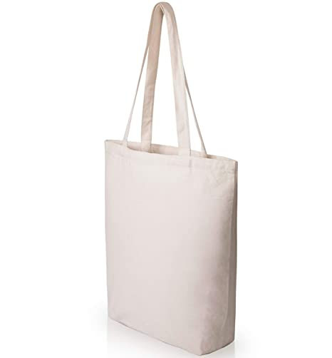 Heavy Duty and Strong Large Natural Canvas Tote Bags with Bottom Gusset (6  Pack + 8adbda05c1