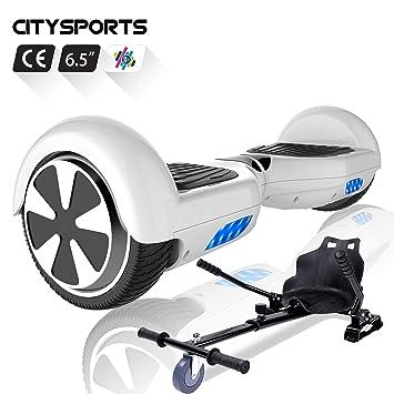 CITYSPORTS Hoverboard 6.5 Pulgadas, Patinete Eléctrico Balance Board Inteligente Scooter 2x350W con LED Luces, Bluetooth