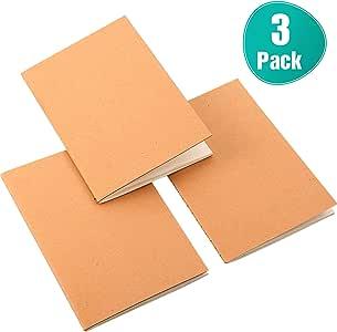 3 Paquetes Mini Cuaderno Kraft Bloc de Notas Vintage de Bolsillo Diario de Páginas en Blanco Cuaderno Bocetos, Tamaño de Bolsillo de Pasaporte, para Diario, Memos, Pintura, Graffiti, 5 x 3.5 Pulgadas: