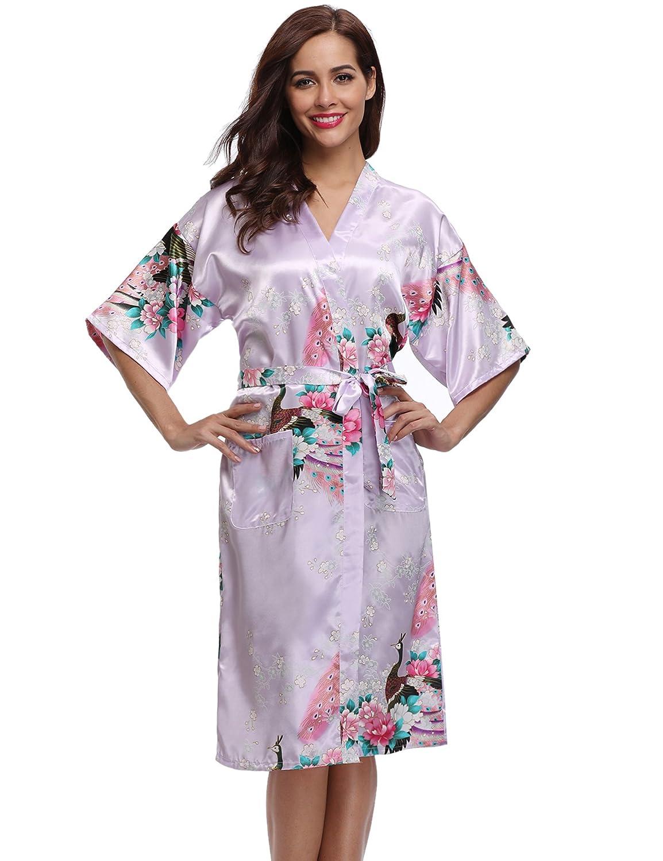 Aibrou Donna Elegante Vestaglia Scollo a V Pigiama Kimono Pavone Esotici, Fiore Camicia da Notte in Raso con Cintura per Casa Hotel Nozze AM16062402