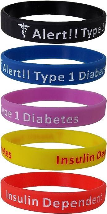 5 unidades de pulseras con la frase «Diabetes Type 1 Insulin Dependen», pulsera de silicona.: Amazon.es: Joyería