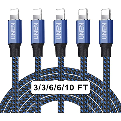 UNEN iphone Charger(3 - 3 - 6 - 6 - 10FT)5 Pack-Black and Blue