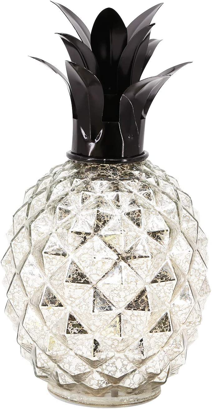 Romingo Mercury Glass Pineapple Lamp 9 Inch Batteries Operated with Timer for Home Decoration, Birthday Gift, Silver