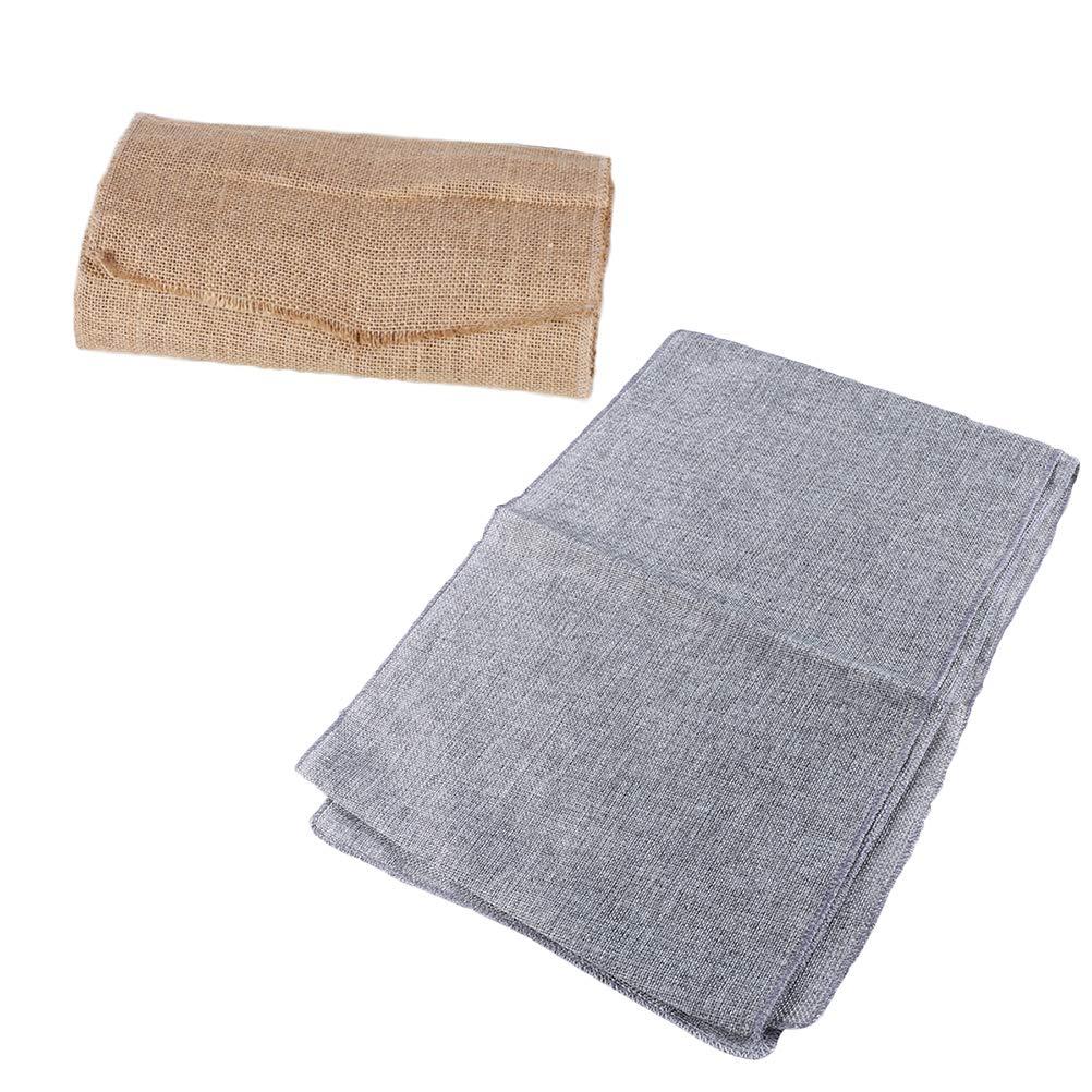 Healifty 2pcs Table Runner Burlap Imitado Mantel de Lino Mesa Rectangular Bandera 180x30cm (Gris y Caqui)