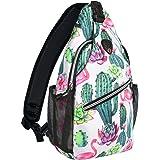 MOSISO Sling Backpack,Travel Hiking Daypack Pattern Rope Crossbody Shoulder Bag, Cactus