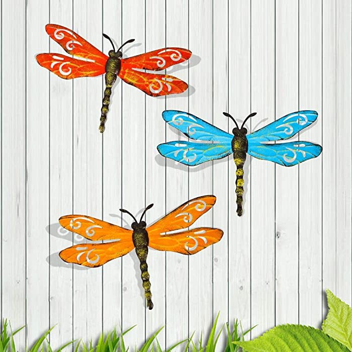 Scwhousi Metal Dragonfly Wall Decor Outdoor Garden Fence Art,Hanging Decorations for Living Room, Bedroom, 3 Pack