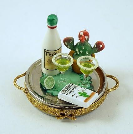 Auténtico francés porcelana pintada a mano caja de Limoges Margarita cócteles bandeja con botella de tequila