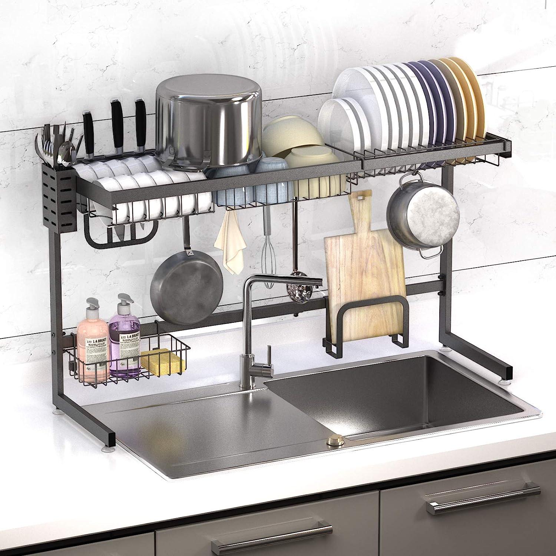 over sink dish drying rack kufa adjustable kitchen utensil storage organizer holder stainless steel paint counter drainer shelf above drainage