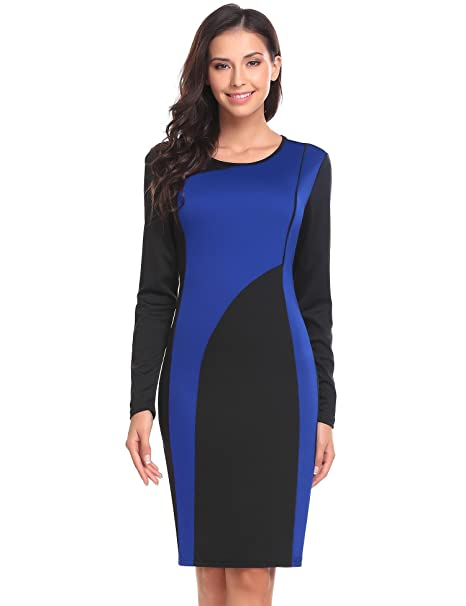 ec5c6d1e2862 Image Unavailable. Image not available for. Color: ANGVNS Women's Long  Sleeve Scoop Neck Patchwork Business Bodycon Pencil Dress