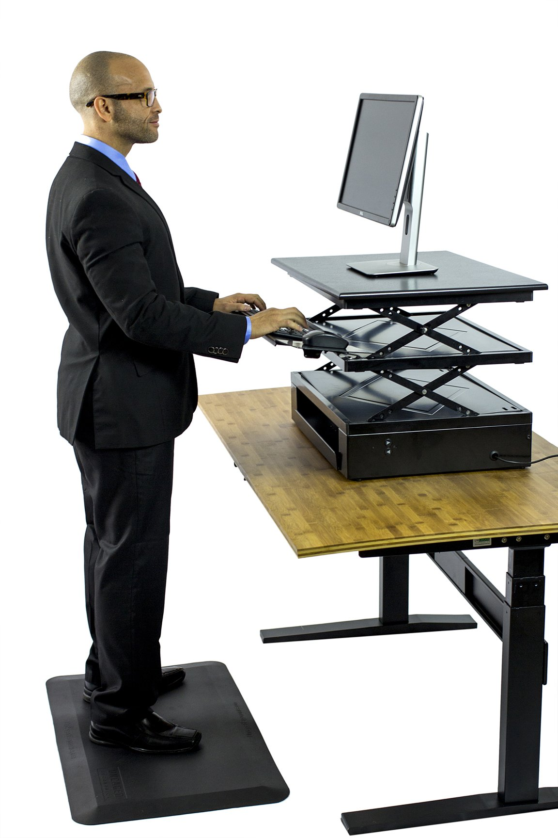 Uncaged Ergonomics Electric Change Desk, Height Adjustable Standing Desk Converter, Ergonomic Stand Up Desk Conversion Kit (CDE-b) by Uncaged Ergonomics (Image #4)